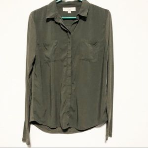 Ann Taylor Loft Olive Long Sleeve Button Down